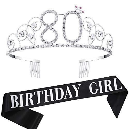 Coucoland Geburtstag Krone mit Geburtstag Schärpe Satin Birthday Crown and Sash Set Geburtstagsdeko Geschenk für Damen Geburtstag Party Accessoires (80 Jahre alt - Silber)