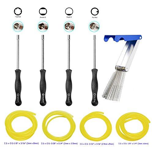 OxoxO Carburetor Adjustment Tool Kit Carb Adjusting Screwdriver with Jet Cleaner Cleaning Tool 4 Sizes Fuel Line Hose for Carburetor -