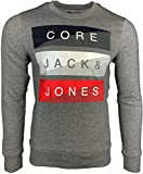 JACK & JONES Herren Kapuzenpullover Hoodie Core Storm Sweatshirt Logo Two Color 12137100 S M L XL XXL (XXL, 3 Grau)