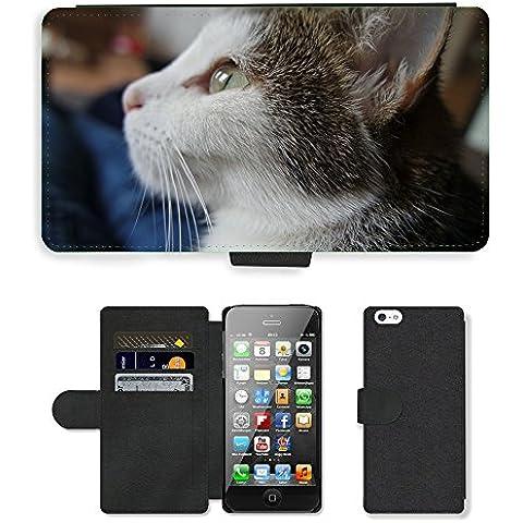 CARD POCKET BOOK CASE PU LEATHER CASE // M00149494 Gato Gato Mascota Cara dulce Estimado // Apple iPhone 5 5S 5G