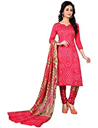 Taboody Empire Modest Pink Satin Cotton Handi Crafts Bandhani Work With Straight Salwar Suit For Girls And Women