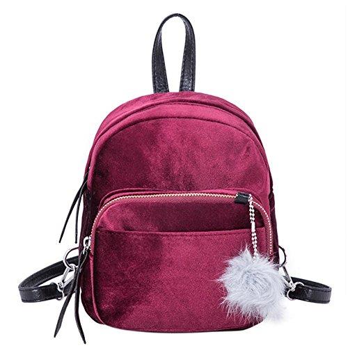 Demiawaking casuale donne zaino in velluto borse a tracolla zaino di viaggio borsa da scuola ragazze (rosso scuro)