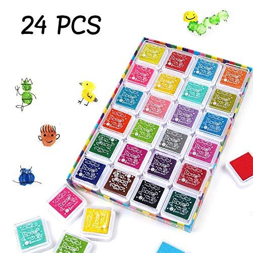 MTURE Stempelkissen, Stamp Pad Fingerdruck fuer Papier Handwerk Stoff, Fingerabdruck,Scrapbook, Malerei, 24 Farben,Mehrfarbige -