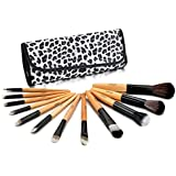 Glow 12 Pinsel MAKE-UP pinselset (Leopard Kosmetik Tasche)