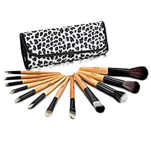 Glow 12 Makeup Brushes Set in Leopard Print Case