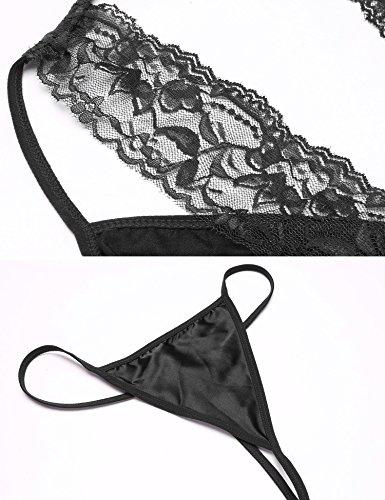 Untlet Damen Satin Nachthemd Halter Nachtwäsche V-Ausschnitt Lingerie Sleepwear Unterkleid Schwarz