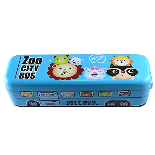 Saamarth Impex Metal Pencil Cases Cartoon Bus Gift For Kids Students 3 Floors Pencil Box SI-6615