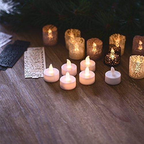 Velas de Té LED sin Llama - 24 Velas a Pilas Incluyen Fundas Decorativas en 3 Colores y Estilos Diferentes. Ideal para Bodas, Regalos, Vacaciones, Manualidades, Navidad - Caja de Seguridad para su Hogar