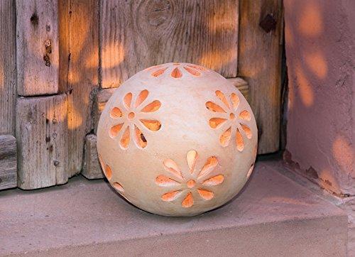 """Windlicht Kugel\""""Blüten\"""", aus Terracotta, Deko für Garten, Balkon und Terrasse, Kerzenhalter, Lampe"""