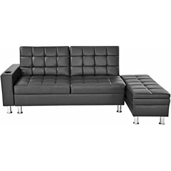 3 Seater Faux Leather Sofa Futon Bed Corner Couch With Storage Guest