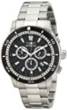 Invicta Specialty Men's Quartz Watch with Black Dial  Chronograph display on Silver Stainless Steel Bracelet 1203
