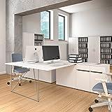 Weber Büro 2er Team-Schreibtisch AIR mit integrierten Sideboards Gruppenarbeitsplatz Bench Doppel-Arbeitsplatz, Gestellfarbe:Weiß