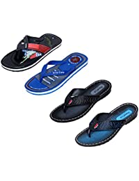 IndiWeaves Men Flip Flop House Slipper And Sandal-Blue/Black/Blue/Black