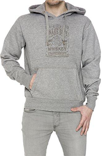 Snake Bite Uomo Grigio Felpa Felpa Con Cappuccio Pullover Grey Men's Sweatshirt Pullover Hoodie
