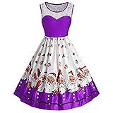 MRULIC Damen Vintage Santa Christmas Printing Kleider Damen ärmelloses Kleider Jumper (Violett,EU-34/CN-S)