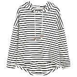 Ba Zha HeiMädchen gestreifte Mode Pullover Frauen Casual Gestreift Hooded Pullover Mode Langarm Asymmetrie-Saum Sweatshirt Bluse Tops (Weiß, M)