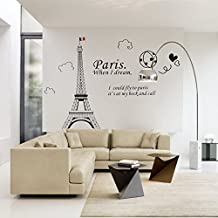 World Famous Europe Architecture París Torre Eiffel Eliminar pegatina de pared Decal para Dormitorio Sala de estar (Pairs)