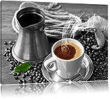 Dampfender Kaffe mit Kännchen schwarz/weiß Format: 60x40 auf Leinwand, XXL riesige Bilder fertig gerahmt mit Keilrahmen, Kunstdruck auf Wandbild mit Rahmen, günstiger als Gemälde oder Ölbild, kein Poster oder Plakat