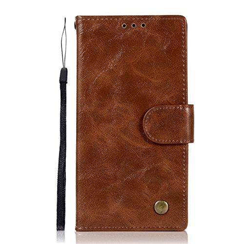 Chreey Alcatel Flash 2 Hülle, Premium Handyhülle Tasche Leder Flip Case Brieftasche Etui Schutzhülle Ledertasche, Braun