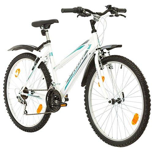 fahrraeder maedchen Multibrand, PROBIKE 6th SENSE, 460mm, 26 Zoll, Mountainbike, 18 gang, Schutzblech-Set, Für Damen, Weiß-Türkis