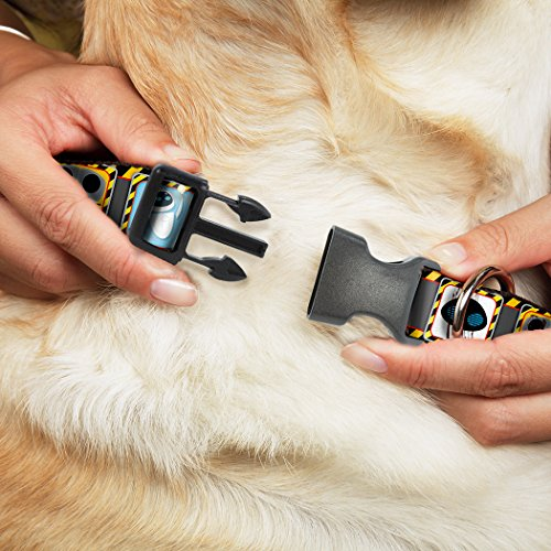 Image of Buckle-Down WallE & Eve Pose/Face Hazard Blocks Gray/Yellow/Black Plastic Clip Collar, Large/15-26""