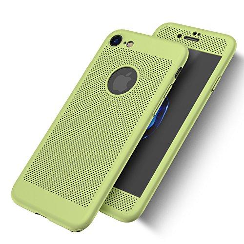 iPhone 7Fall, Nohon Full Body [2] Ultra Slim/Dünn Leicht Atmungsaktiv Kühlende Mesh Fall, Harte PC Kunststoff Schutzhülle mit Tempered Glas Displayschutzfolie für iPhone 7[11,9cm], Viridis