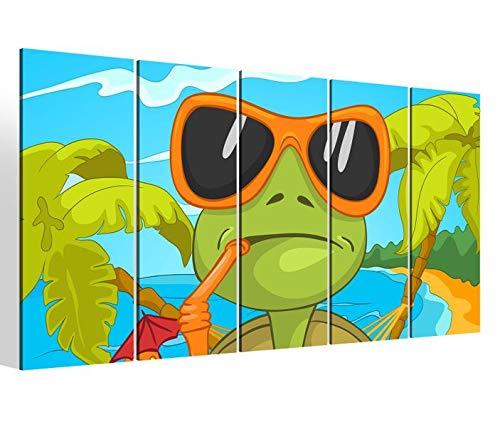 Leinwandbilder 5 teilig XXL 200x100cm Eidechse grün Urlaub Sonnenbrille Tier Kat2 Kinderzimmer Druck auf Leinwand Bild 9BM613
