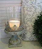 Windlicht Metall Glas Kerzenlicht Brocante Shabby Vintage Eisen Patina Zementguß