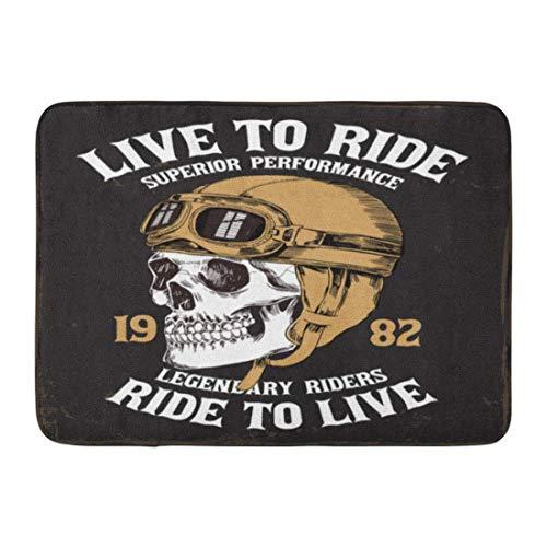 Mbefore Zerbini Tappeti da Bagno Outdoor/Indoor Zerbino Graphic Vintage Moto Skull in Casco e Biker Club Disegno Bagno Decor Tappeto 16 Pollici * 24 Pollici, 40 cm * 60 cm