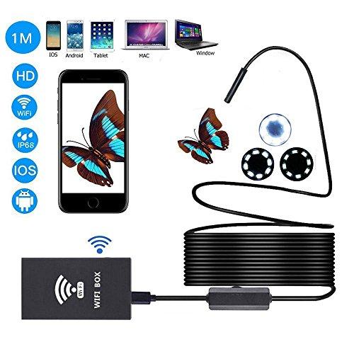 Preisvergleich Produktbild Wireless Endoskop teepao WiFi Boroskop / Endoskop Kamera 2.0 Megapixel mit 8 LED Lichtern für iOS-Handys iPhone Sumsung Tablet Mac und Windows,  steuerbare Helligkeit,  Schwarz ,  1 m