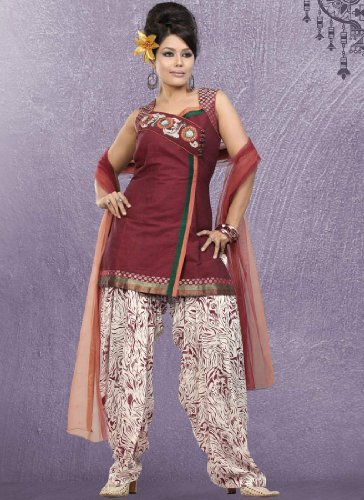 Fashionista Lofty Maroon Patiala Suit Size :36 Color : Maroon