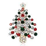 FURU Weihnachts-Brosche, Weihnachtsbaum, Strasssteine, Modeschmuck, für Frauen