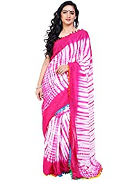 Tanya Pink And White Cotton Mulmul Shibori Printed Saree With Pompom