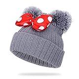 KFEK Automne et Hiver Enfants 1-9 Ans Arc Double Boule de Cheveux Mignon Chapeau de Laine Douce Chapeau de Tricot Chaud A2 Taille Unique