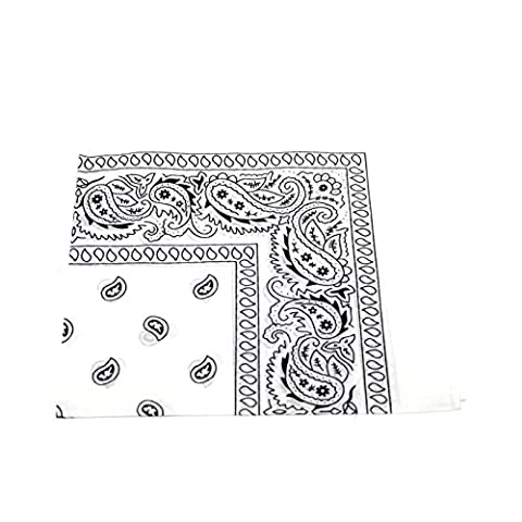 Men's/Women's Bandana Head or Neck Scarves Paisley Pattern 100% Cotton – (White Pattern Sciarpa)