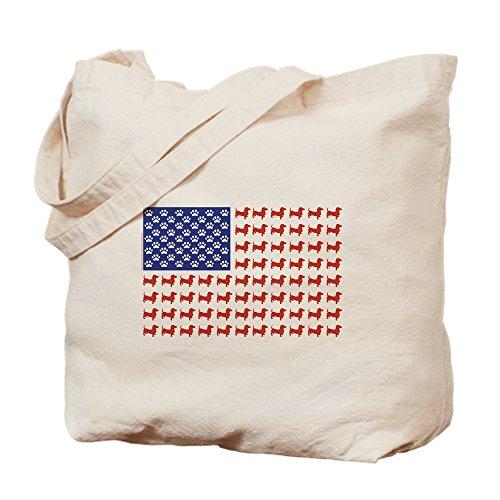 CafePress–Dackel Patriotische Flagge–Leinwand Natur Tasche, Reinigungstuch Einkaufstasche Tote S khaki (Dackel Weiner)