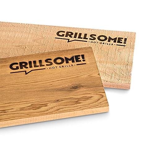 4 XL Räucherbretter aus kanadischem Zedernholz (40 x 15 x 1,5 cm) von Grillsome! Grillbretter / Grill-Planken 4 Stück (2 x 2er Set glatte und raue Oberfläche) mehrmals verwendbar, Raucharoma