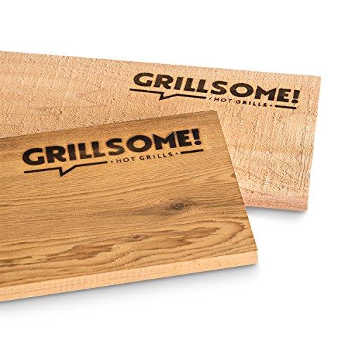 4 XL Räucherbretter aus kanadischem Zedernholz (40 x 15 x 1,5 cm) von Grillsome! Grillbretter, Grill-Planken 4 Stück (2 x 2er Set glatte und raue Oberfläche) mehrmals verwendbar, Raucharoma, Planke, Smoker Zubehör
