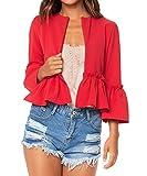 Donna Giacche da Abito e Blazer Cappotti Corti Giacca di Colore Solido Cappotto Maniche a Campana Autunno (IT40-42 / Asia S, rosso)