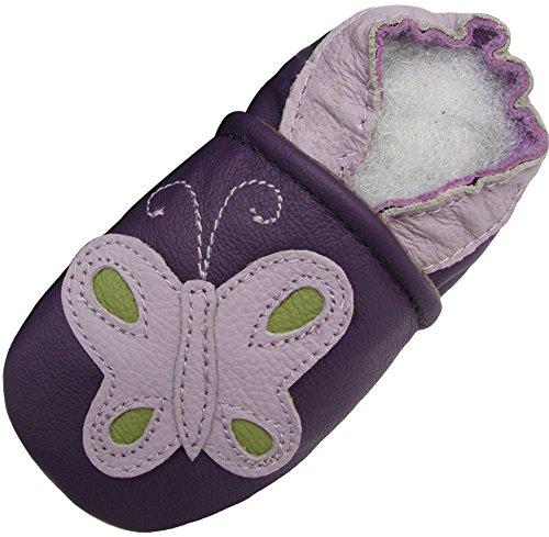 Carozoo Papillon Violet (Butterfly Purple), Chaussures Bébé Semelle Souple Fille