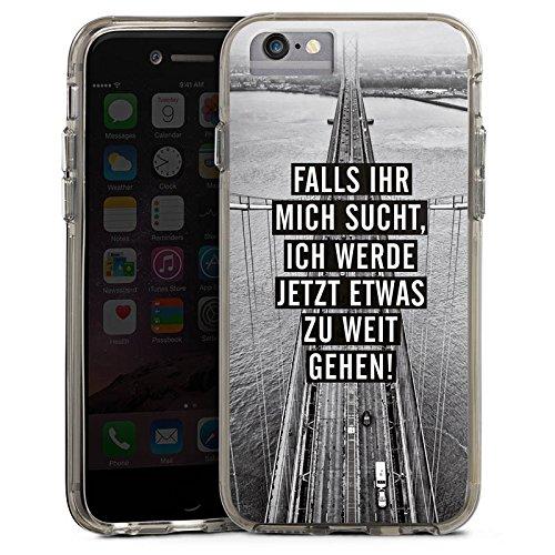 Apple iPhone 7 Bumper Hülle Bumper Case Glitzer Hülle Sayings Phrases Sprüche Bumper Case transparent grau