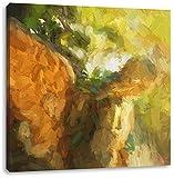 Goldenen Engel im Sonnenlicht Kunst Pinsel Effekt, Format: 70x70 auf Leinwand, XXL riesige Bilder fertig gerahmt mit Keilrahmen, Kunstdruck auf Wandbild mit Rahmen, günstiger als Gemälde oder Ölbild, kein Poster oder Plakat