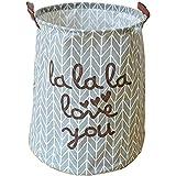 """gossipboy Cute grande redondo lino y algodón tela plegable cesta para la colada ropa sucia organizador almacenamiento bin bag 19""""x 15,"""" Star caballo"""