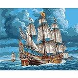 RYUANYUAN Hand Ölgemälde Boot Und Meer Dekorative Leinen Malerei Spiegel Wand Kunst Für Wohnzimmer 16x20 inch (40x50 cm) Rahmenlos