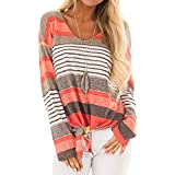 Langarm Oberteile Gestreifte Strick Langarm Damen ChenangTop Damen Lose Asymmetrisch Jumper Sweatshirt Pullover Bluse Oberteile Oversize V-Ausschnitt Henley Shirt Casual