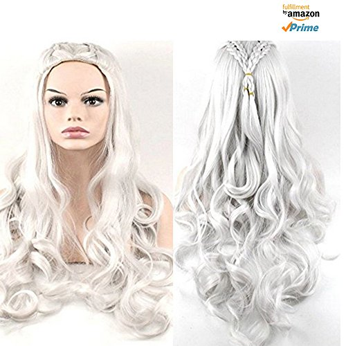 Morningsilkwig daenerys targaryen silber gewellter perücke drachen prinzessin game of thrones zöpfe cosplay perücken kostüme - Game Of Thrones Prinzessin Kostüm