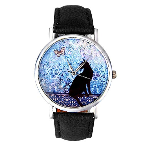 HZBIOK Uhren Damen Katzenmuster Lederband Analog Quarz Vogue Armbanduhr Damenuhren Top-Marke Damenuhren Schwarz