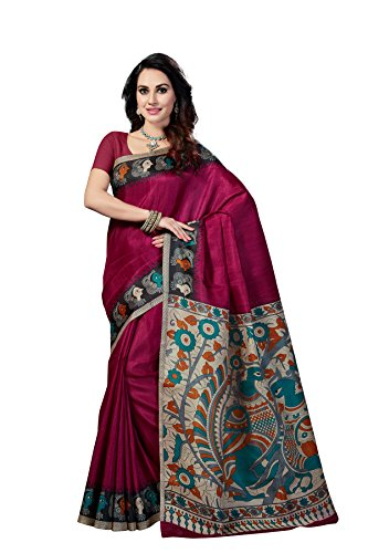 Rani Saahiba Women's Kalamkari Printed Art Bhagalpuri Silk Saree ( Skr3101_Purple )