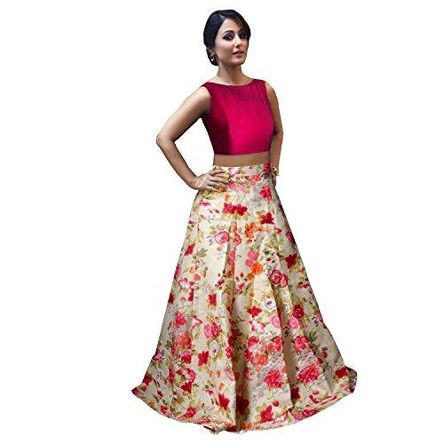 EyesOnMe Women's Satin Lehenga Choli (Flower_Print_Pink_Free Size)