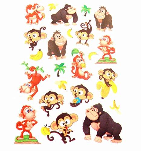 Affe & Banane Aufkleber Kinder / Kinder Etiketten für Party Taschen, Scrap Bücher, KARTE HERSTELLUNG Notizbuch Dekoration